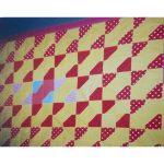 Patchwork żółto czerwony trójkąty